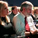 Handout photo issued by Sinn Fein of Michelle O'Neill and Gerry Adams at a SF conference on Irish Unity at Dublin's Mansion House. Photo: Sinn Fein/PA Wire