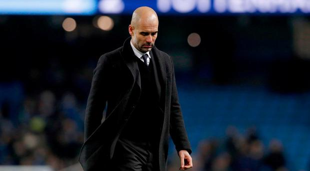 Manchester City manager Pep Guardiola after the final whistle during the Premier League match at the Etihad Stadium