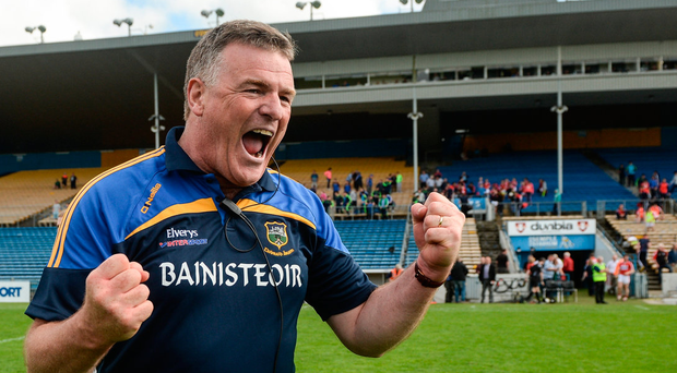 Tipperary manager Liam Kearns reacts after the final whistle when his team put Cork to the sword last season. Photo: Piaras Ó Mídheach/Sportsfile