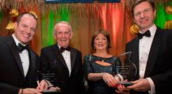From Left: Gregory Grene, Leslie & Carmel Buckley and Timothy Perutz. As the prestigious William Jefferson Clinton Goodwill for Haiti Award will be presented to Gregory Grene and Timothy Perutz, founders of the Andrew Grene Foundation (AGF), at the Sixth Annual Haiti Ball To Celebrate Haiti Week. Picture Fergal Phillips