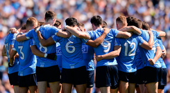 'This modern fashion of standing with their arms around each other is for underage girls' football and looks a bit false'. Photo: Eóin Noonan/Sportsfile