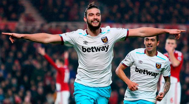 West Ham United's Andy Carroll celebrates after scoring his side's second goal against Middlesbrough. Photo: Richard Sellers/PA
