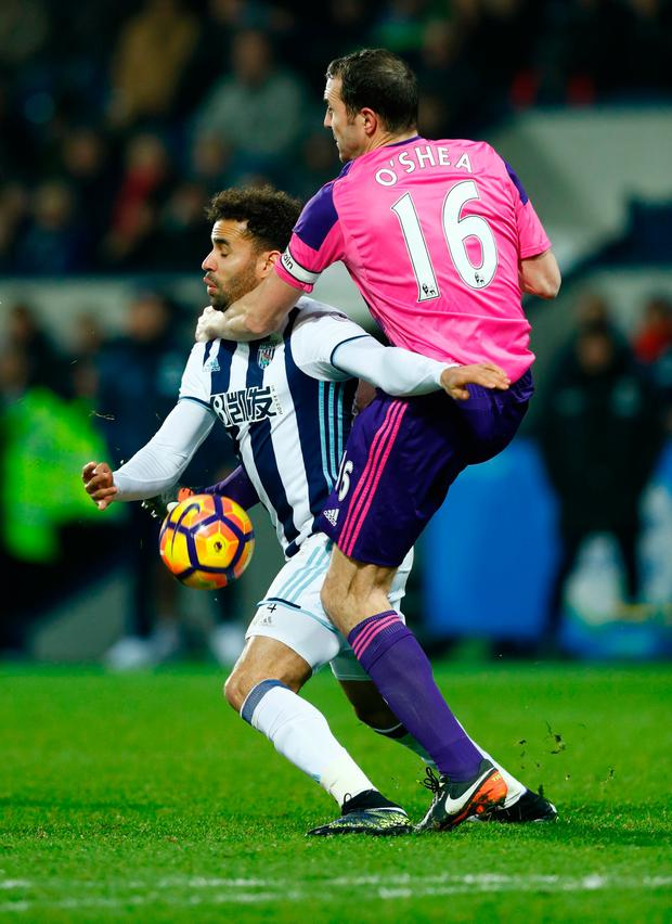 West Bromwich Albion's Hal Robson-Kanu in action with Sunderland's John O'Shea. Photo: Eddie Keogh/Reuters