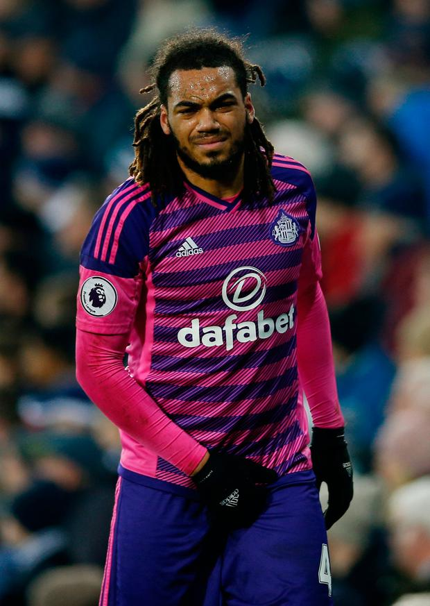 Sunderland's Jason Denayer after sustaining an injury during the match. Photo: Andrew Couldridge/Reuters