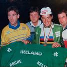 Ireland's Paul Kimmage, Sean Kelly, Stephen Roche and Martin Earley (l-r front row) celebrate after Roche claims gold in the 1987 World Championships