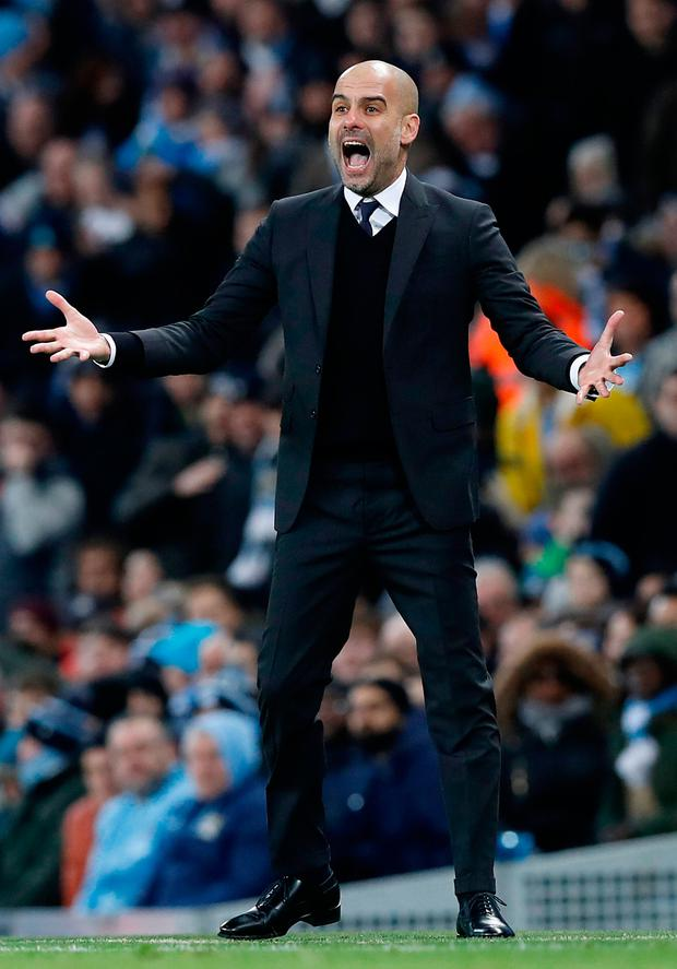 Pep Guardiola shows his displeasure at a refereeing decision in Manchester City's helter-skelter draw with Tottenham. Photo: Martin Rickett/PA