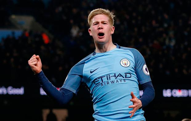Kevin De Bruyne celebrates after scoring Manchester City's second goal. Photo: Andrew Yates/Reuters