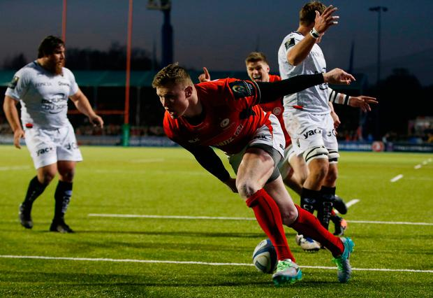 Saracens' Chris Ashton scores a try. Photo: Reuters