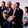 From left, Harald Vilimsky of the Austria Freedom Party; Geert Wilders of the Dutch PVV party; Marine Le Pen of the French Front National; and Frauke Petry of Germany's AfD at the rally in Koblenz Photo: Sean Gallup/Getty Images