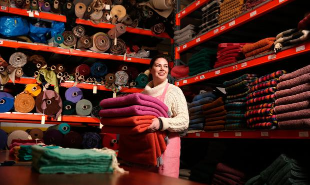 Laura Buchanan, one of the design team members of McNutts Tweed, pictured in their Downings factory. Photo: Gerry Mooney