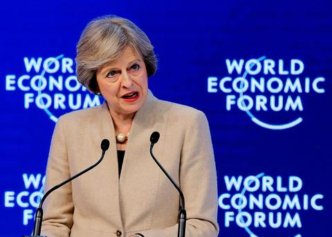 British Prime Minister Theresa May at the World Economic Forum Photo: AP Photo/Michel Euler