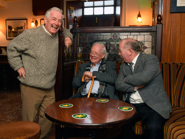 Brendan Kennelly socialising with his brothers Paddy (left) and Kevin (right) at Kennellys Bay in Ballylongford Photo: Domnick Walsh