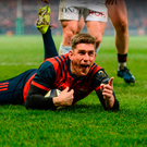 Ian Keatley scores Munster's third try against Racing 92. Photo: Sportsfile