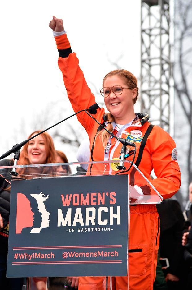 Amy Schumer speaks onstage during the rally at the Women's March on Washington on January 21, 2017 in Washington, DC. (Photo by Theo Wargo/Getty Images)