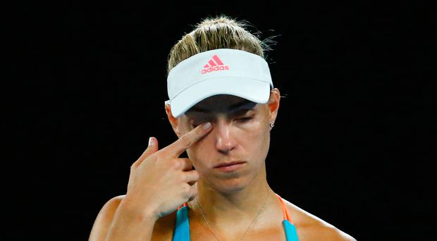 Germany's Angelique Kerber reacts during her Women's singles fourth round match against Coco Vandeweghe of the US. REUTERS/Edgar Su