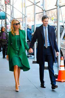 Ivanka Trump and her husband, Jared Kushner are seen walking in Midtown on January 19, 2017 in New York City. (Photo by Raymond Hall/GC Images)