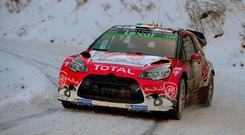 Craig Breen of Ireland and Scott Martin of Great Britain compete in their Ciroen Total Abu Dhabi WRT Citroen DS3 WRC during Day Three of the WRC Monte-Carlo
