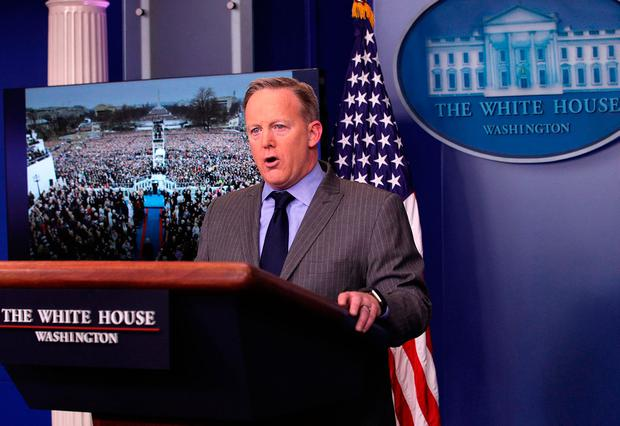 White House Press Secretary Sean Spicer makes a statement to members of the media at the James Brady Press Briefing Room of the White House January 21, 2017 in Washington, DC. This was Spicer's first press conference as Press Secretary where he spoke about the media's reporting on the inauguration's crowd size. (Photo by Alex Wong/Getty Images)