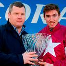 Jockey Jack Kennedy, right, and trainer Gordon Elliott after sending out A Toi Phil to win the Coral.ie Leopardstown Handicap Steepelchase during the Leopardstown Races at Leopardstown Racecourse in Dublin. Photo by Cody Glenn/Sportsfile