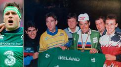 Ireland's Paul Kimmage, Sean Kelly, Stephen Roche and Martin Earley (l-r front row) celebrate after Roche claims gold in the 1987 World Championships and (left) CJ Stander sings the Irish national Anthem