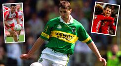 Maurice Fitzgerald in his Kerry days, Derry's Eoin Bradley (left) and Manchester United's Zlatan Ibrahimovic (right)