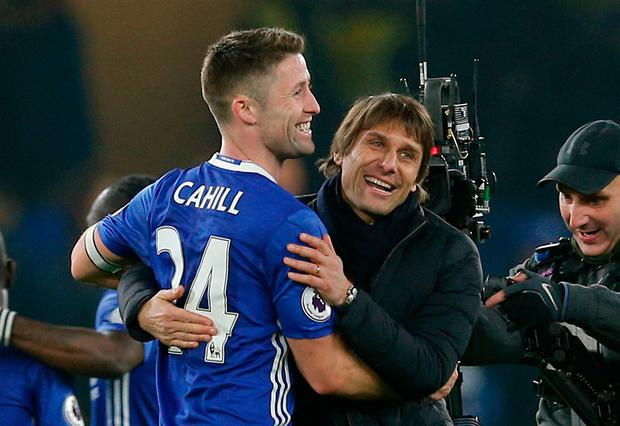 Chelsea manager Antonio Conte with Chelsea's Gary Cahill after the match