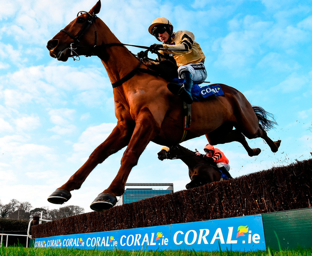 Yorkhill, with Ruby Walsh up, clear the last on their way to winning the Coral.ie Novice Chase at Leopardstown. Photo: Cody Glenn/Sportsfile