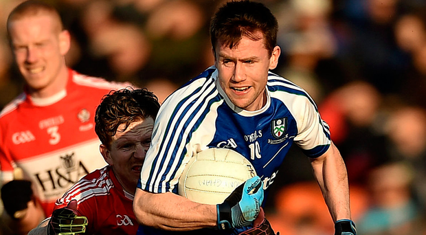 Monaghan's Karl O'Connell in action against Derry's Enda Lynn at Athletic Grounds in Armagh. Photo: Philip Fitzpatrick/Sportsfile
