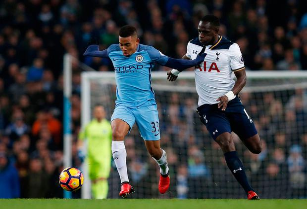 Manchester City's Gabriel Jesus in action with Tottenham's Moussa Sissoko. Photo: Reuters / Andrew Yates