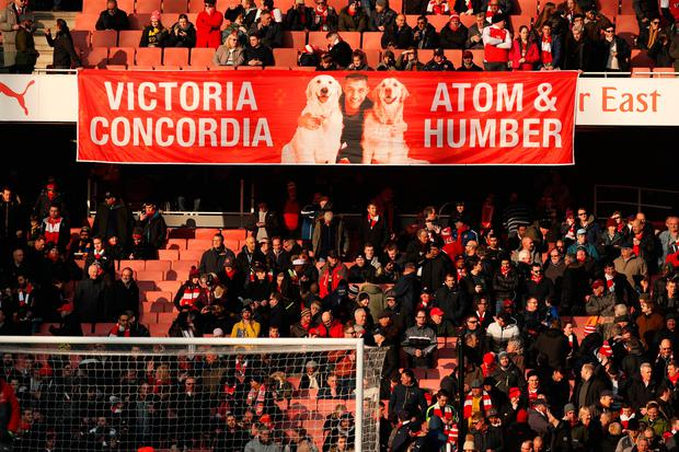 Football Soccer Britain - Arsenal v Burnley - Premier League - Emirates Stadium - 22/1/17 Banner of Arsenal's Alexis Sanchez in the stands before the match Action Images via Reuters / John Sibley Livepic EDITORIAL USE ONLY. No use with unauthorized audio, video, data, fixture lists, club/league logos or