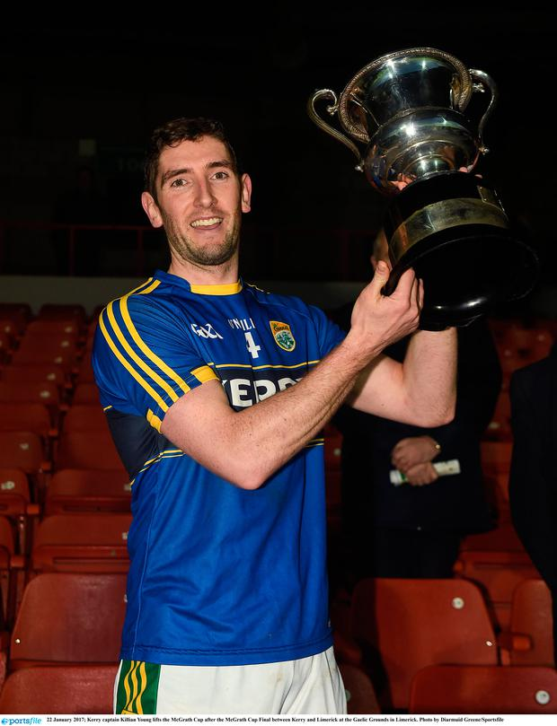 Kerry captain Killian Young lifts the McGrath Cup after the McGrath Cup Final against Limerick at the Gaelic Grounds in Limerick. Photo: Diarmuid Greene/Sportsfile