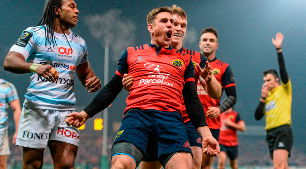 Ian Keatley celebrates with Rory Scannell after scoring Munster's third try against Racing 92 on Saturday. Photo by Diarmuid Greene/Sportsfile