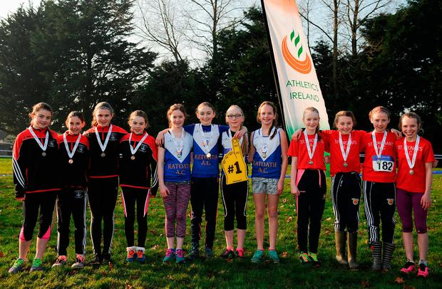 Girls U-12 relay medallists, Galway City Harriers, (bronze), Ratoath (gold) and St Ronan's (silver) in Tuam. Photo: Sam Barnes/Sportsfile