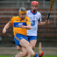 Clare's Conor O'Donnell kicks a shot goalwards during the Munster SHL victory over Waterford. Photo: Seb Daly/Sportsfile