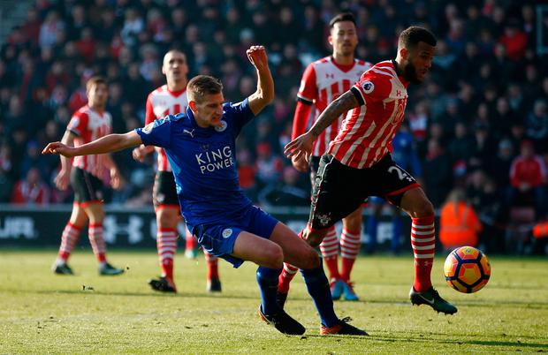 Southampton's Ryan Bertrand in action with Leicester City's Marc Albrighton. Photo: Reuters / Peter Nicholls