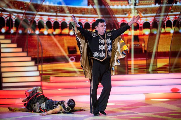 Des Cahill dances the Paso Doble with his partner Karen Byrne. Photo: kobpix