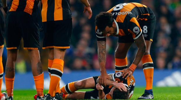Hull City's Ryan Mason lies injured Reuters / Eddie Keogh Livepic