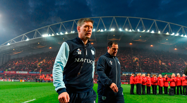 Racing 92 defence coach Ronan O'Gara, left, and Racing 92 backs coach Laurent Labit ahead of the European Rugby Champions Cup Pool 1 Round 6 match between Munster and Racing 92 at Thomond Park