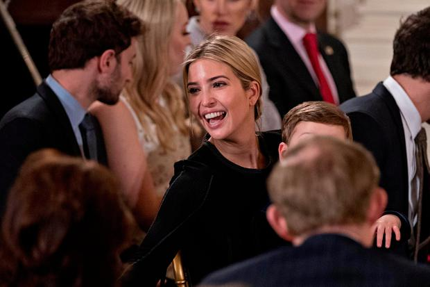 Ivanka Trump, daughter of Donald Trump, attends a swearing in ceremony of White House senior staff in the East Room of the White House