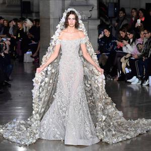A model presents a creation by Georges Hobeika during the 2017 spring/summer Haute Couture collection