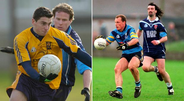 Bernard Brogan in action for DCU in 2007 and (right) Jim McGuinness in his UUJ days