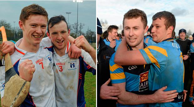 John Meagher, left and Richie English, right, of Mary Immaculate celebrate last year and (right) Jack McCaffrey and Ryan Wylie after DCU won the Independent.ie Sigerson Cup