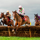 Faugheen, with Ruby Walsh up, on the way to winning last year's Irish Champion Hurdle – he's due to have his first run since then in the same race this Sunday. Picture credit: Brendan Moran / SPORTSFILE