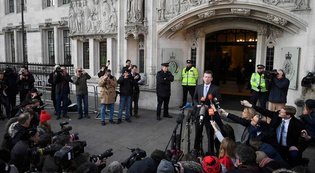 Britain's Attorney General, Jeremy Wright, speaks outside the Supreme Court following the decision of a court ruling that Theresa May's government requires parliamentary approval to start the process of leaving the European Union, in Parliament Square, central London, Britain, January 24, 2017. REUTERS/Toby Melville