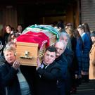 The coffin of Martin Finn is taken from St. Matthew's Church Ballyfermot. Photo: Tony Gavin