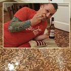 Matt Giles, from the UK, painstakingly tiled his kitchen floor with more than 27,000 £1p coins,