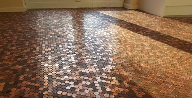 Matt's penny floor, made with 27,000 £1p coins