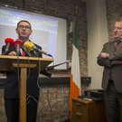 Det. Supt. Tony Howard pictured with Det. Chief Supt. Jim McGowan during the Garda Press Briefing at The Garda National Drugs and Organised Crime Unit, Dublin Castle today. Photo: Colin O'Riordan