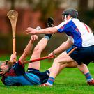 Brendan Toohey of GMIT in action against Michael O'Neill of Mary Immaculate College Limerick during the Independent.ie HE Fitzgibbon Cup Group A Round 1 match between Mary Immaculate College Limerick and GMIT at the MICL Grounds in Limerick. Photo by Diarmuid Greene/Sportsfile