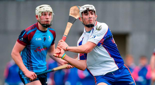 Aaron Gillane of Mary Immaculate College Limerick in action against Joseph Mooney of GMIT during the Independent.ie HE Fitzgibbon Cup Group A Round 1 match between Mary Immaculate College Limerick and GMIT at the MICL Grounds in Limerick. Photo by Diarmuid Greene/Sportsfile